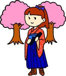 卒業式の袴姿の女の子